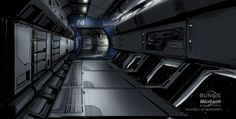Futuristic Interior, UNSC space wafer hallway by Rhizus Environment Painting, Sci Fi Environment, Environment Design, Spaceship Interior, Futuristic Interior, Aircraft Interiors, Sci Fi News, Cyberpunk City, Science Fiction Art