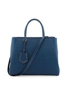 L0A00 Fendi 2Jours Saffiano Tote Bag, Blue