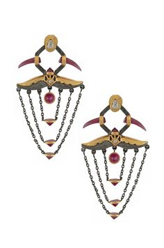 Amrapali Dark Maharaja Blood Horn earrings in silver and gold with rubies and diamonds.