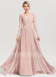 A-Line/Princess Scoop Neck Sweep Train Chiffon Evening Dress - Evening Dresses - JJ's House Navy Bridesmaid Dresses, Modest Wedding Dresses, Event Dresses, Bridal Dresses, Occasion Dresses, Mother Of Groom Dresses, Mothers Dresses, Chiffon Evening Dresses, Evening Gowns