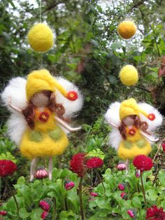 YELLOW  Needle Felted Wool  fairy girl from the by LivelySheep, €12.00