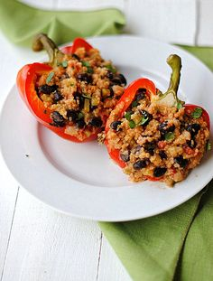 Quinoa Stuffed Bell Peppers + 4 other delicious recipes in this week's Low Carb + Vegetarian + Grain-Free Fall meal plan | Rainbow Delicious
