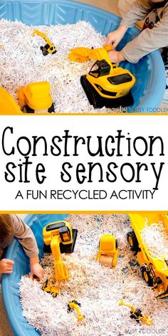 Construction Site Sensory Bin - Busy Toddler - - Looking for a fun indoor activity? Try this easy toddler activity and make a construction site sensory bin! Your toddler will love this simple sensory bin. Indoor Activities For Toddlers, Nursery Activities, Infant Activities, Tuff Tray Ideas Toddlers, Summer Activities, Outdoor Activities, Family Activities, Activities For 3 Year Olds, Playgroup Activities