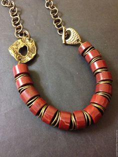 """Купить Колье """"Паприка"""" с красной яшмой - коричневый, терракотовый, украшения ручной работы, украшение на шею"""