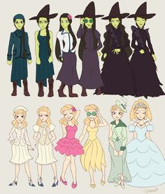 Glinda and Elphaba's Outfits from the musical, Wicked. I really outa find a place for my Wicked stuff. Broadway Musicals, Broadway Theatre, Musical Theatre, Broadway Shows, Broadway Wicked, Broadway Nyc, Broadway Plays, Hayao Miyazaki, Shrek