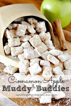 Apple Pie Muddy Buddies, definitely making these! Apple pie muddy buddies - a perfect blend of white chocolate and apple pie spice. Yummy Snacks, Delicious Desserts, Snack Recipes, Dessert Recipes, Yummy Food, Fudge Recipes, Apple Recipes, Fall Recipes, Coffee Recipes