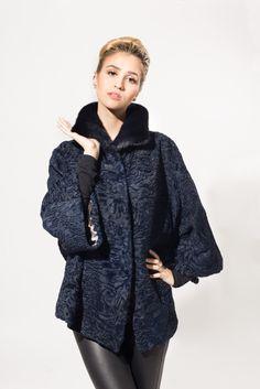 Black Dyed Swakara Lamb & Blackglama Mink Fur Jacket
