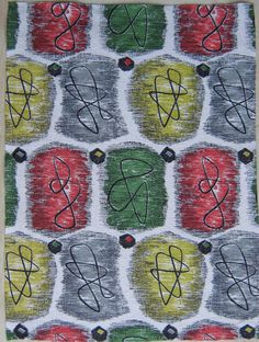 Vintage Barkcloth Fabric 50s Eames Era