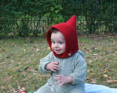 Pixie Hood - Red Knit & Felted children's hat on Etsy, $30.00