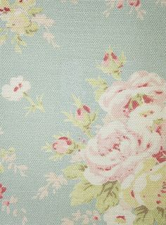 Florence Fabric An elegant floral printed fabric featuring delicate bouquets of pink roses on a duck egg background.