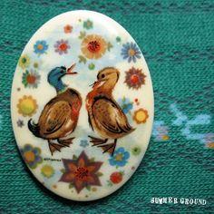 Vintage- Romancing Ducks Brooch