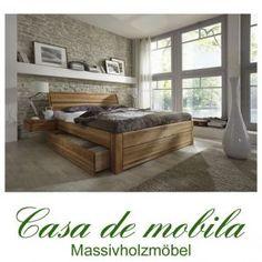 Massivholz Schubladenbett 180x200 Holzbett Bett Eiche massiv geölt