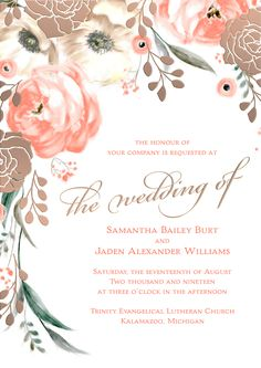 From the David Tutera Wedding Invitation Collection: Watercolor floral with rose gold foil. Absolutely gorgeous and right on trend.