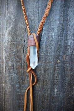 Natural RAW Clear Quartz Leather Necklace by WildPeopleFreeSpirit, $55.00