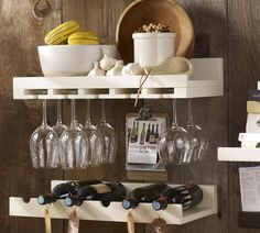 Save space and stay organized with wall shelves and floating shelves from Pottery Barn. Find wood, metal and glass shelves in various styles to complete your space. Wine Glass Shelf, Wine Shelves, Wine Storage, Glass Shelves, Glass Rack, Extra Storage, Bar Shelves, Storage Shelving, Pallet Shelves