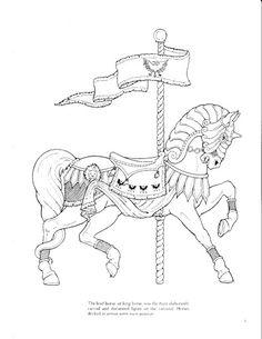 Carousel Animals coloring book - bobogirl Vah - Álbuns da web do Picasa Horse Coloring Pages, Adult Coloring Book Pages, Colouring Pics, Printable Coloring Pages, Free Coloring, Coloring Books, Doodles Zentangles, Carousel Horses, Copics