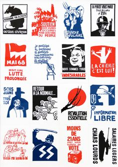 Mai 68 Posters These posters were done in a hurry, mostly single colour screen prints, and depict the political tensions in France at the time. Starting out as student strikes in Paris, the May 1968 protests quickly spread. De Gaulle was so worried about a new revolution he fled to Germany. Images from my collection.