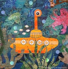 detail, Yellow Submarine by Cheryl P. Stanczyk. Inspired by the Beatles Art Quilt Challenge. 2015 Pacific International Quilt Festival. Photo by Quilt Inspiration.