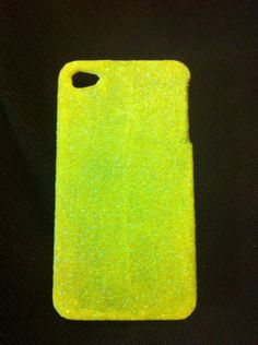 glitter iphone case in bright neon yellow on Etsy, $15.00