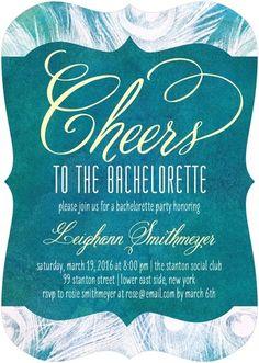 Stylish Plumes - Signature White Bachelorette Party Invitations - Sarah Hawkins Designs - Baroque - Purple : Front