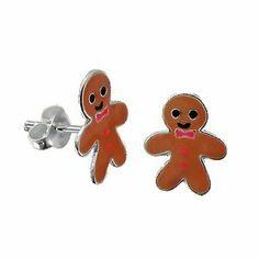 gingerbread man jewelry | ... Gingerbread Man Sterling Silver Childrens Earrings Post/stud: Jewelry