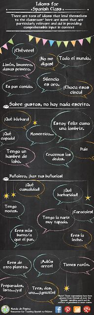 Idioms are a great way to incorporate culture into your classroom. Here's a list of 27 I use daily in my elementary Spanish classes. Mundo de Pepita: Spanish Idioms for the Classroom- Comprehensible Input in Context ✿ More inspiration at http://espanolautomatico.com ✿ Spanish Learning/ Teaching Spanish / Spanish Language / Spanish vocabulary / Spoken Spanish / Free Spanish Podcast / Español Automatico ✿ Share it with people who are serious about learning Spanish!