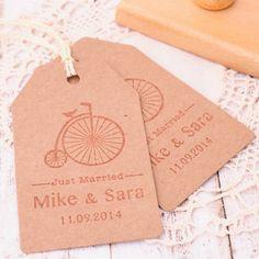 Sello personalizado para bodas rectangular. Bicicleta vintage