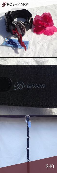 """NWT Brighton Silvertonre  Stretch Braided Belt Attractive stretch braided style leather belt with silver tone buckle and connecting """"O"""" rings. 32"""" Brighton Accessories Belts"""