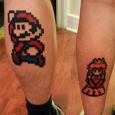 …Or Mario and Peach, for the Nintendo 64 generation. | 43 Adorable Couples' Tattoos That Will Stand The Test Of Time