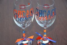 Chicago Bears WIne glasses by GameDayCheers on Etsy, $24.00 for a set of 2 or $12.00 for 1.