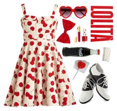 """""""I want to have fun and be in love with you"""" by d-o-ll-y-h-a-z-e ❤ liked on Polyvore featuring Pinup Couture, Topshop, Estée Lauder, Forever 21, lolita, nymphet and cherries"""