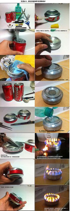 DIY Alcohol stove from a soda can Survival Stove, Camping Survival, Survival Tips, Survival Skills, Camping Hacks, Cola Dose, Bushcraft, Diy Room Decor, Just In Case