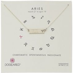Dogeared Aries Zodiac Bar Necklace ($62) ❤ liked on Polyvore featuring jewelry, necklaces, dogeared necklace, charm chain necklace, pendants & necklaces, charm necklace and dogeared jewelry