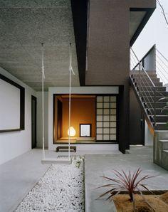 Promenade House by FORM/Kouichi Kimura Architects  jason: i like black and white contrasts  addy: SWINGS