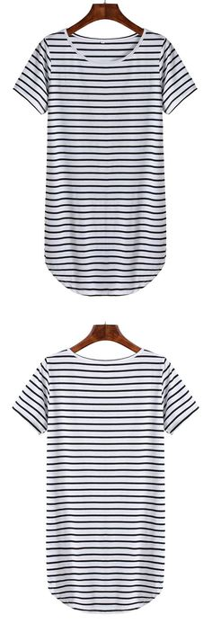 This slim shift dress crafted from black and white stripe, featured round neck, short sleeve and curved hem. Only $7.99 for sale. Get it now at romwe.com.