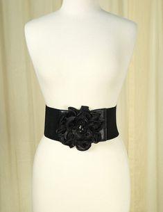 Black Floral Cinch Belt #newarrivals #retro #accessories #pinup