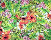 Vintage Neon Tropical Fabric Retro Hawaiian Fabric Cotton Sewing Quilting Vintage Fabric Yardage Green Orange Pink