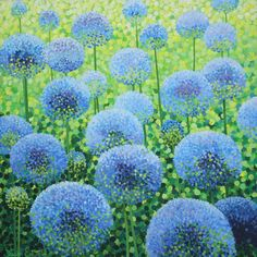 """Hello again everyone. Aren't these Alliums fab. I've been looking at some to plant in a reddish colour but we'll see. Pointillist artist Susan Entwistle is brilliant at gardens and flowers. Framed Canvas Prints, Canvas Frame, Canvas Art, Fields In Arts, Square Art, Colorful Artwork, Limited Edition Prints, Rodin, Art For Sale"