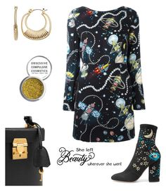 """Cosmic."" by gatocat ❤ liked on Polyvore featuring Valentino, Mark Cross, Love Moschino, Napier, Obsessive Compulsive Cosmetics and WALL"