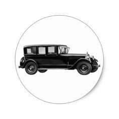 Vintage car - Packard eight limousine sedan Classic Round Sticker - craft supplies diy custom design supply special