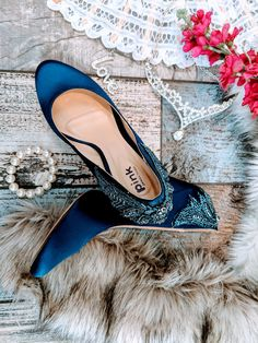 Custom shoe service available as well as quality bridal couture brands Navy blue wedding bridal sewn jewel embellished court pumps stiletto heels Special Occasion Shoes, Feel Unique, Custom Shoes, Bridal Shoes, Blue Wedding, Wedding Accessories, Stiletto Heels, Navy Blue, Pumps