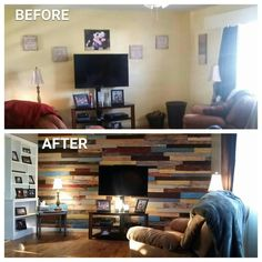 My new pallet wall :) Pallet Walls, Reno, Interior Design Living Room, Bookcase, New Homes, Shelves, House Design, Man Stuff, Basements