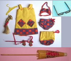 1967 Francie Summer Coolers #1292 Yellow sun dress with blue and red floral trim, and matching tote bag, matching bra and panties in blue & red floral print,  red cork sandals with red ties, hair braid with red ribbon, paper beach umbrella and black plastic granny eyeglasses.