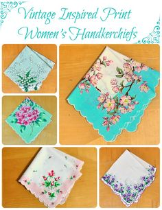 Colorful print handkerchiefs with floral designs.  Beautiful!