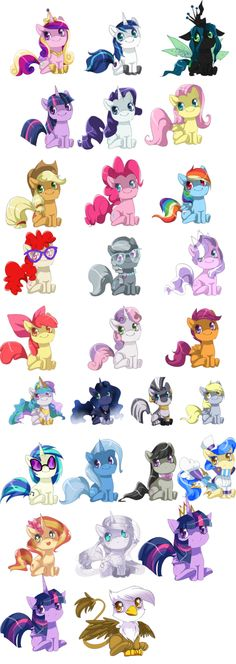 The chibi ponies(cadence, Luna, Celestia, chrysalis,twilight princess, and silver one near princess twilight adopted, Fluttershy, rainbow dash, vinyl scratch, pinkie pie, sunset shimmer,and derpy adopted)
