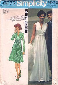 Simplicity 6672 - a gorgeous 1974 designer dress