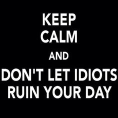Keep Calm and Don't Let Idiots Ruin Your Day Don't Let, Let It Be, Me Quotes, Funny Quotes, It's Funny, Welcome Words, Lets Get Started, More Than Words, Keep Calm