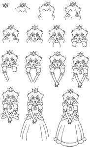 How To Draw Mario Characters Step By Step For Kids How To Draw Princess P...