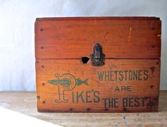 Antique Rustic Industrial Wooden Box with Lid by RushCreekVintage Vintage Wood Crates, Antique Wooden Boxes, Wooden Box With Lid, Stone Quarry, Fish Design, Rustic Industrial, Toy Chest, Pottery, Antiques
