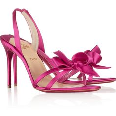 Christian Louboutin Grusanda 85 bow-embellished satin sandals (17,185 MXN) ❤ liked on Polyvore featuring shoes, sandals, heels, christian louboutin, louboutin, pink, mid heel, pink high heel shoes, slip on shoes and pink bow sandals